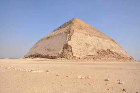 Bent_Pyramid_featuring_the_original_polished_limestone_outer_casing_that_the_pyramids_used_to_have_(14797064881)